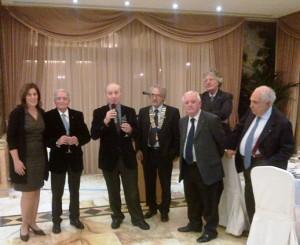 I candidati per l'elezione del Presidente per l'anno 2015 - 2016 assieme al Presidente in carica, a Mariano Marotta, uno dei soci fondatori del nostro Club,  a Patrizio Amore e Gianpaolo Cioccia assistente del Governatore